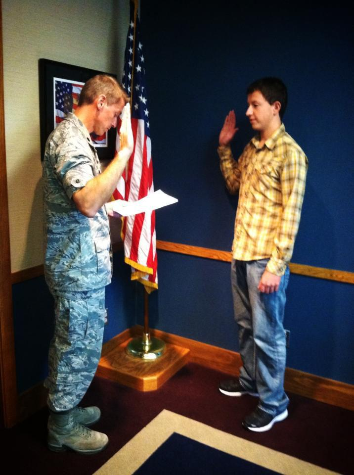 Tenold gets sworn into the Air Force