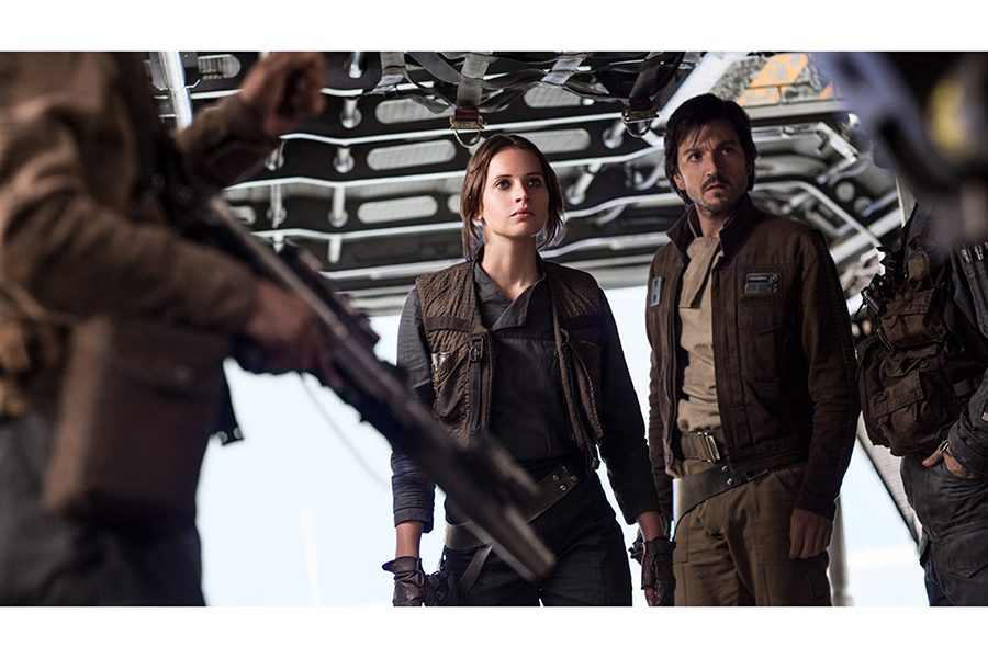 "Felicity Jones as Jyn Erso and Diego Luna as Cassian Andor in the film ""Rogue One: A Star Wars Story."" (Lucasfilm Ltd.)"